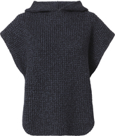See by Chloé Hooded Cable Knit Pullover Sweater Navy P/S