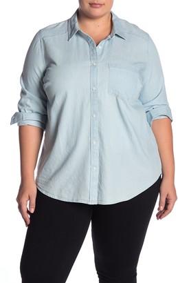 Caslon Chambray Button Front Shirt (Plus Size)