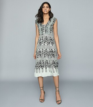 Reiss Avery - Printed Midi Dress in Aqua