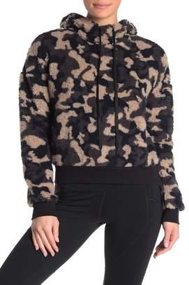 Zella Z By Faux Shearling Camouflage Hooded Sweater
