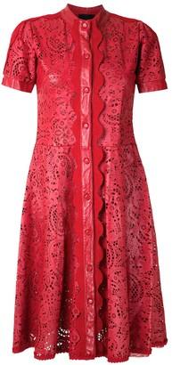 Andrea Bogosian leather laser cut dress