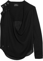 Anthony Vaccarello Lace-up Wool-blend Blouse - Black