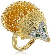 Kenneth Jay Lane Gold, Rhinestone, and Emerald Eye Hedgehog Ring