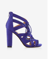 Express Whipstitch Lace-up Heeled Sandals