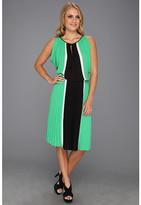 BCBGMAXAZRIA Iona Color Blocked Dress w/Pleated Skirt