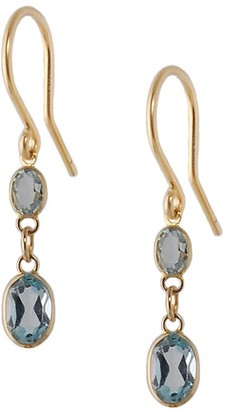 Amy Holton Designs Small Two Stone Bezel Set Blue Topaz Earrings In 14 Karat Yellow Gold