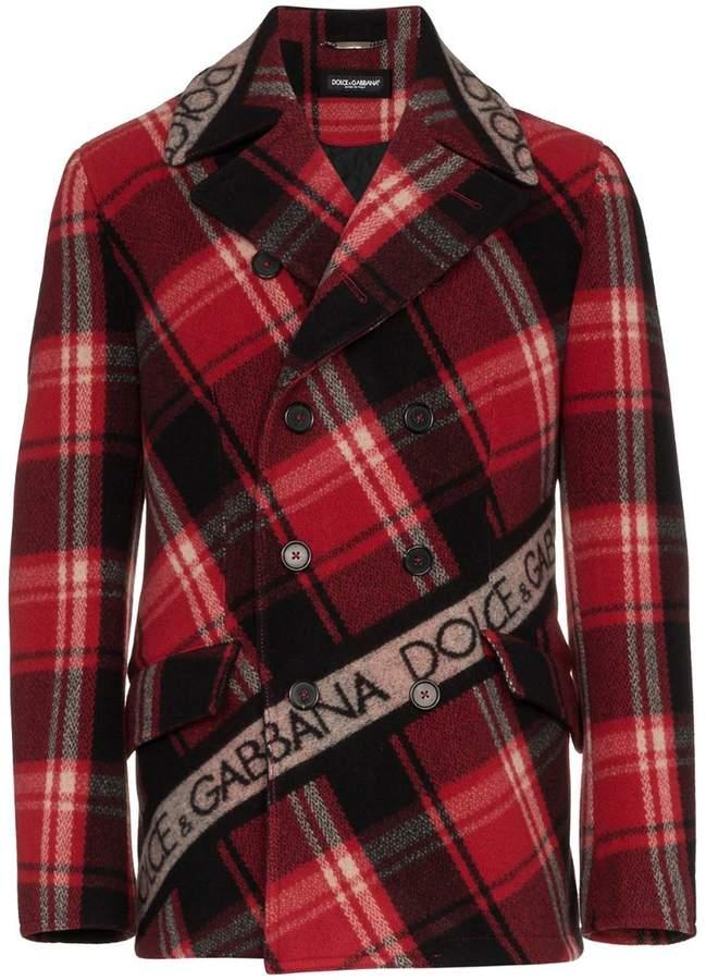Dolce & Gabbana double breasted logo tape tartan wool blend pea coat