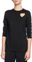 Proenza Schouler Heart-Cutout Pullover Sweater, Black