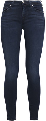 7 For All Mankind The Skinny Faded Mid-rise Skinny Jeans