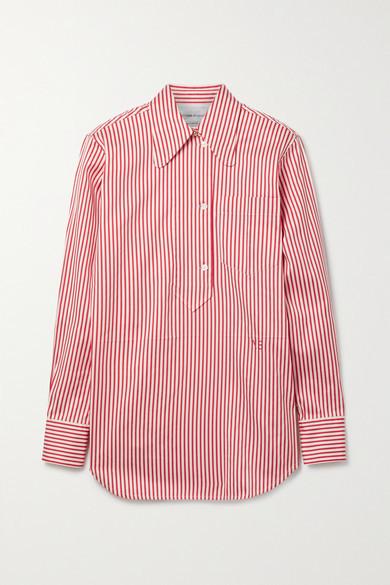 Victoria Beckham Striped Cotton And Silk-blend Oxford Shirt - Red