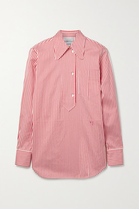 Victoria Beckham Striped Cotton And Silk-blend Oxford Shirt - Red