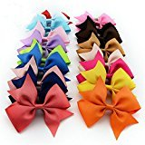 ChicStar 20 Pcs 4'' Baby Girl's Boutique Hair Bows Grosgrain Ribbon Pinwheel Bows Alligator Clips Hair Clips Headbands 20 Colors