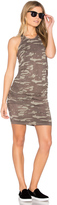 Monrow Neutral Camo Shirred Dress