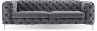 """House Of Hamptonâ® Koffler Velvet Chesterfield 94"""" Rolled Arm Sofa House of HamptonA Fabric: Velvet Gray"""