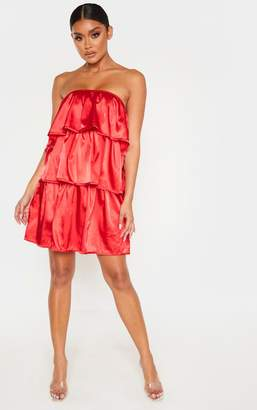 PrettyLittleThing Red Satin Tiered Bandeau Shift Dress
