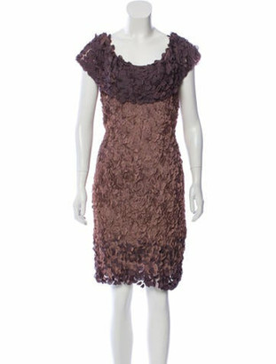 Valentino Sequin-Accented Ruffle Cocktail Dress Purple