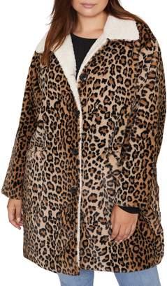 Sanctuary Sierra Print Faux Fur Coat with Fleece Lining