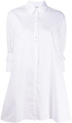 Victoria Victoria Beckham Ruffle-Sleeved Mini Shirt Dress