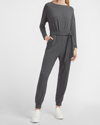 Express Cozy Belted Long Sleeve Jumpsuit