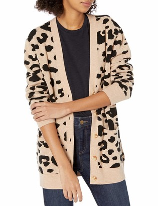 Daily Ritual Amazon Brand Women's Ultra-Soft Leopard Jacquard Cardigan Sweater Camel Print Large
