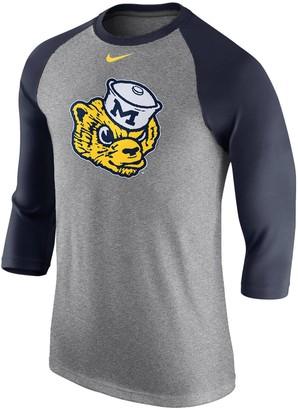 Nike Men's Heathered Gray Michigan Wolverines Retro Tri-Blend Three-Quarter Sleeve T-Shirt