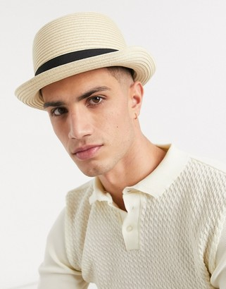 ASOS DESIGN festival pork pie hat in beige straw with band