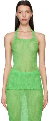 a. roege hove SSENSE Exclusive Green Square Neck Bow Top