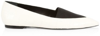 Mercedes Castillo Joayce Point-Toe Croc-Embossed Leather Flats