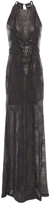 Just Cavalli Coated Snake-print Tulle Gown