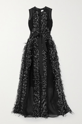 Huishan Zhang Beau Feather And Grosgrain-trimmed Silk-organza Gown - Black