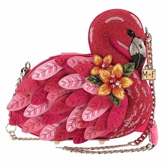 Mary Frances Ruffle My Feathers Womens Crossbody Flamingo Handbag
