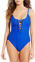 Kenneth Cole New York Shanghai Solids High-Leg Lace-Up Tummy Toner One-Piece