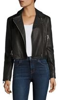 J Brand Aiah Cropped Leather Moto Jacket