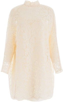Valentino Lace Cape High Neck Dress
