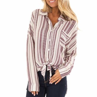 NPRADLA Blouse 2020 Women Stripe Print Long Sleeve Button Tie T-Shirt Pocket Chiffon Top Red