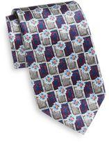 Burma Bibas Boxed Floral Print Silk Tie