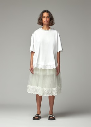 Simone Rocha Women's Tulle Trim A-Line T-Shirt With Beading in White/Pearl Size XS