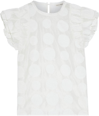 Ulla Johnson Caprice Polka-dot Cotton And Silk-blend Organza Top