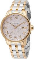 Versace Business Two-Tone Stainless Steel Bracelet Watch, Silver