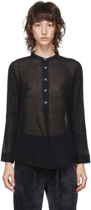 Raquel Allegra Black Perfect Henley Blouse