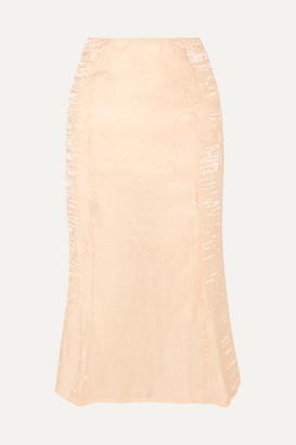 The Line By K - Grace Crinkled-satin Midi Skirt - Neutral
