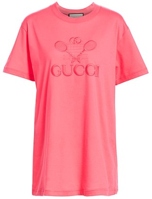 Gucci Logo-Embroidered Tone On Tone Tennis Tee