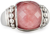 Lagos Maya Square Rhodochrosite Doublet Ring, Size 7