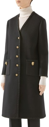 Gucci Lion Head Button Wool Coat