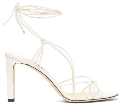 Jimmy Choo Tao 85 Wrap Around Leather Sandals - Womens - Cream