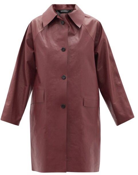 Thumbnail for your product : Kassl Editions Above Oil Coated Cotton-blend Trench Coat - Burgundy