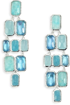 Ippolita Rock Candy Aquamarine, Blue Topaz, Labradorite, Mother-Of-Pearl Sterling Silver Brick Cascade Drop Earrings