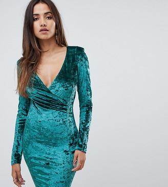 Scarlet Rocks velvet wrap dress in teal-Green