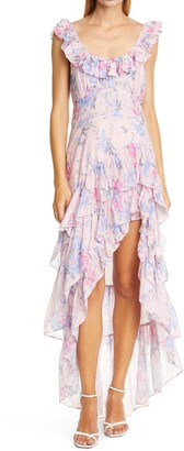 LoveShackFancy Winslow Floral Asymmetrical Cotton & Silk Dress