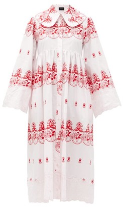 Simone Rocha Cherub-embroidered Cotton Dress - Pink Print